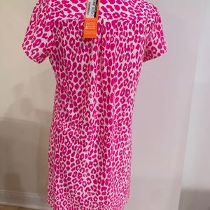 Pink leopard print jersey knit short sleeve dress
